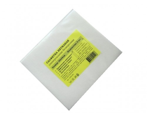 Салфетка универсальная нетканая 34х30см белая 60гр/м2 5шт/упак