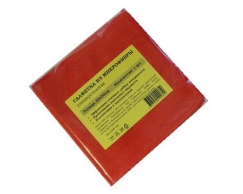 Салфетка из микрофибры 220гр/м2  30х30см красная 1шт/упак UCMF 303