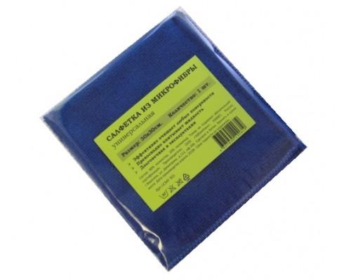 Салфетка из микрофибры 220гр/м2  30х30см синяя 1шт/упак UCMF 304