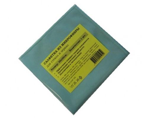 Салфетка из микрофибры 270гр/м2  30х30см голубая 1шт/упак UCMF 328