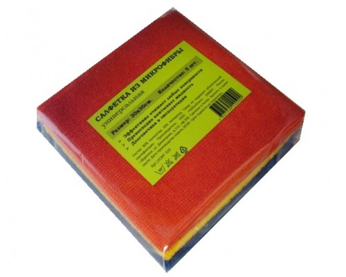 Салфетка из микрофибры 220гр/м2  30х30см ассорти 5шт/упак UCMF 319