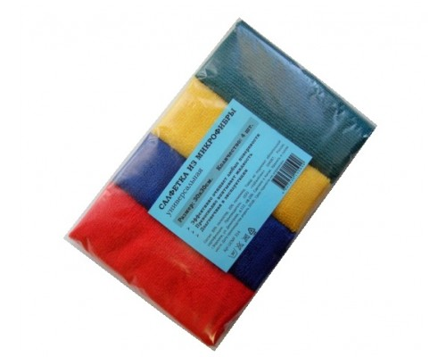 Салфетка из микрофибры 220гр/м2  30х30см ассорти 4шт/упак UCMF 314