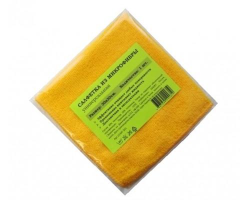 Салфетка из микрофибры 200гр/м2  29х29см желтая 1шт/упак UCMF 301
