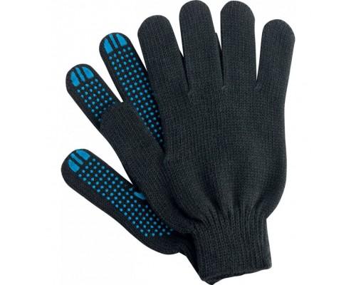 Перчатки 5 нити c ПВХ черные
