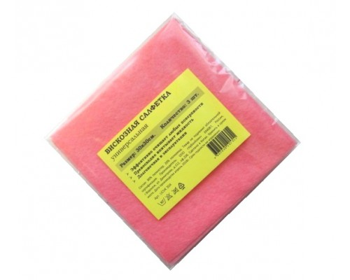 Салфетка из вискозы 30х30см розовая 80гр/м2 3шт/упак UCVK 302